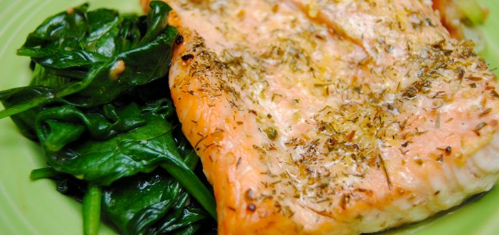 """Salmon and Spinach """"Sandwich"""""""