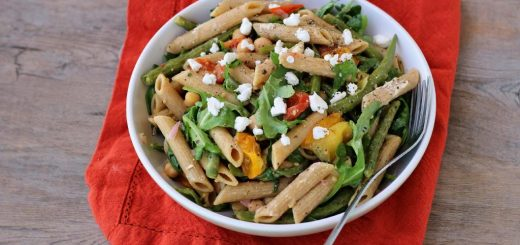 Arugula Salad with Penne, Garbanzo Beans, and Sun Dried Tomatoes