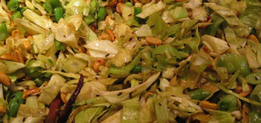 Stir-Fried Cabbage with Red Chili Peppers, Peanuts, Peas