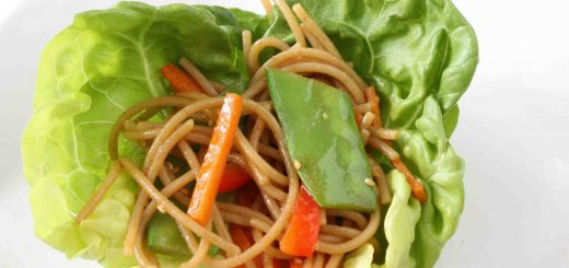 Soba Noodle and Vegetable Lettuce Wraps