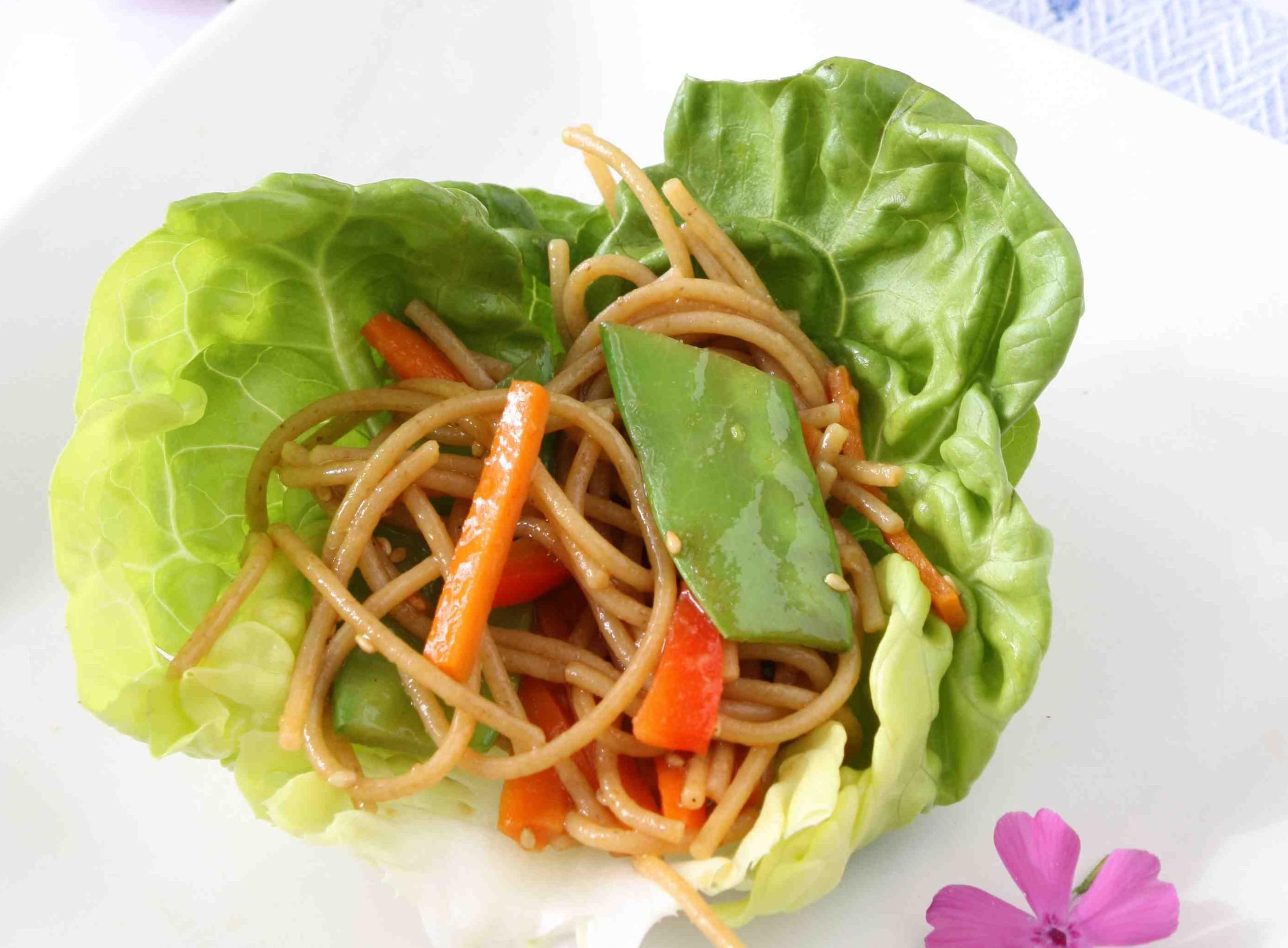 Soba Noodle and Vegetable Lettuce Wraps