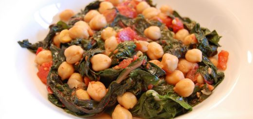 Swiss Chard with Garbanzo Beans and Tomatoes