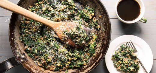 Spinach, Beef, and Egg Hash